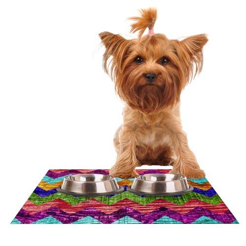 Kess InHouse Beth Engel Natural Flow  Chevron Feeding Mat for Pet Bowl, 24 by 15