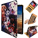 Folding Stand Folio Case with Handle Hand Strap & Document Pocket for Compatible 2018 iPad 6th (A1893-A1954) 2017 iPad 5th A1822 A1823 iPad Air 2nd A1566 A1567 Air 1st A1474 A1475 Dog Design