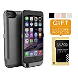 iPhone 6 Battery Case Pack, Charging Case 6800mAh – External Battery Back Up Power Bank Pack, Ultra-Slim Rechargeable Portable Fast Charger, High Capacity Protective Cover (Black)
