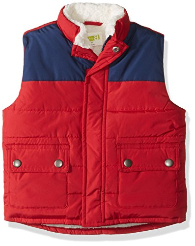 (Crazy 8 Boys' Toddler Two-Tone Sherpa Lined Puffer Vest, red 3T)