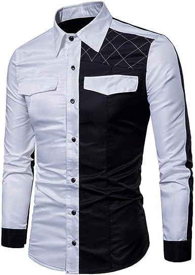 SXZG Camisa de Manga Larga con Costura A Juego de Color de Moda para Hombres Camisa de Hombre Camisa Informal Imprimación: Amazon.es: Ropa y accesorios