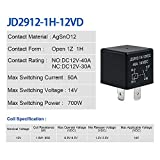 YiePhiot 2 Pack Car Relay 4 Pin 12V 40 Amp Model No : JD2912-1H-12VDC 40A 14VDC, Car relay switch Auto Switches & Starters