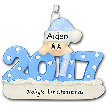 2017 babys first 1st christmas ornament in blue for baby boy with free name personalization - Baby Boy First Christmas Ornament