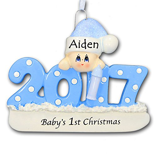 2017 Baby's First 1st Christmas Ornament in Blue for Baby Boy with Free Name Personalization (Blue) (Personalized Baby First Christmas Ornament)