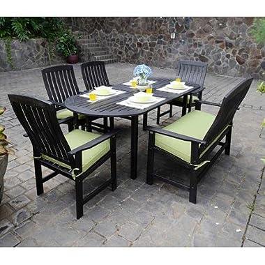 6-Piece Wood Patio Dining Set, Dark Brown, Seats 6