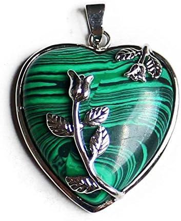 Aituo 1pieza cristal Natural Reiki Pile Gemstone de curación péndulo de Chakra colgante para collar DIY Jewelry Making … (Malachite)