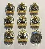 Bulk Lot of 9 (9X) CTS 250K Short Split Shaft Audio Taper Potentiometers / Pots