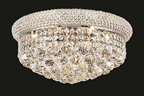 Chandelier Primo Light 8 - Elegant Lighting 1800F16C/RC Royal Cut Clear Crystal Primo 8-Light, Single-Tier Flush Mount Crystal Chandelier, Finished in Chrome with Clear Crystals Model-1800F16C/RC