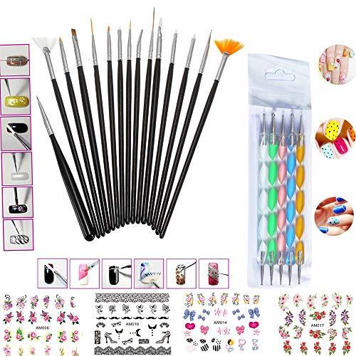 Invitation Elegance Kit (Nail Art Tools Manicure Set 15PCS Nail Painting Brush Kit 5PCS Nail Dotting Drawing Polish Brush Pen Tools 4PCS Adhesive Nail Art Water Transfer Decal Stickers)