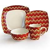 Cheap American Atelier 16-Piece Zigzag Dinnerware Set, Red