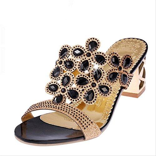 Heart&M de las mujeres de moda Lover recortes del alto talón de partido / playa sandalias de los deslizadores Black
