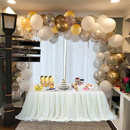 Balloon Arch & Garland Kit | 100 Pearl White, Chrome Gold Confetti & Silver | Balloon Arch & Garland Strip Tool | Holiday, Wedding,Baby Shower,Birthday,Graduation Party ()