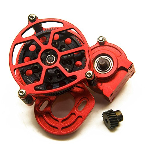 RC-FAST RED Aluminum Alloy RC Car Transmission Case Center Gearbox & Gear for 1/10 Axial SCX10 AX10
