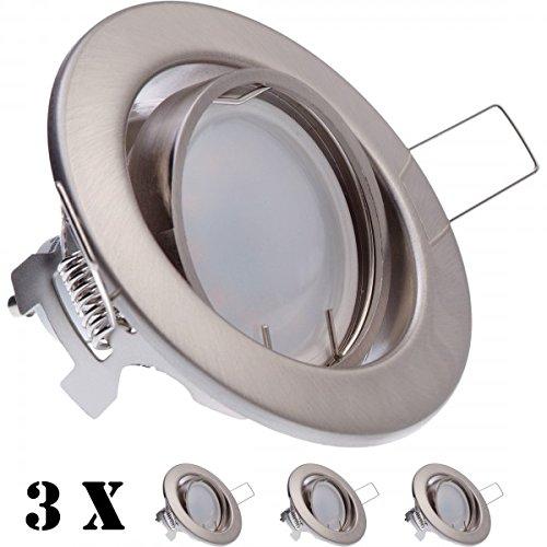 3er LED Einbaustrahler Set Silber gebürstet mit LED GU10 Markenstrahler von LEDANDO - 5W - 390lm - schwenkbar - warmweiss - Milchglasoptik - 120° Abstrahlwinkel - A+ - 35W Ersatz - LED Einbauleuchte 5 Watt - satiniert