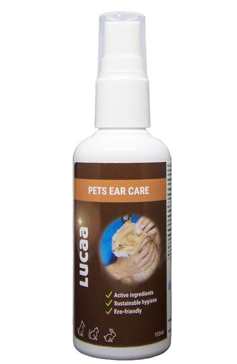 LUCAA+ Cuidado de las Orejas para Mascotas/ Perros y Gatos 100 ml | Producto sostenible con Probióticos| Bio, Vegano & Natural