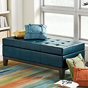 Amazon Com Lauren Leather Storage Ottoman Textured