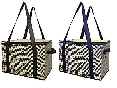 Earthwise Large Insulated Reusable Box Shopping Bag (2 Pack)