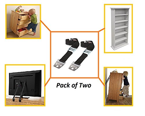Anti-tip Furniture and TV Straps – Extra Strong with Metal Buckles and Heavy Duty Webbing – Complete Safety Kit with All Mounting Hardware