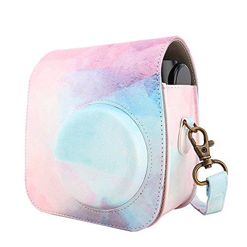 MoKo Camera Case, Premium PU Leather Shoulder Strap Camera Bag Fits Polaroid PIC-300 / Fujifilm Instax Mini 7sCamera, Camera Pouch Fujifilm Instax Mini 7s / Polaroid PIC-300 - Water Color ()