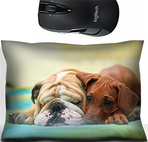 Liili Mouse Wrist Rest Office Decor Wrist Supporter Pillow Rhodesian ridgeback puppy and english bulldog best dog friends relaxing on bed Photo 15971404 Best Friend Bulldog
