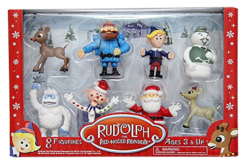 "Rudolph the Red-Nosed Reindeer Figurine Set- 8pc Set Including 2"" Figures of Rudolph, Yukon Cornelius, Hermey, Bumble the Abominable Snowman, Sam the Snowman, Charlie-in-the-box, Santa & Clarice"