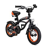 BIKESTAR Original Premium Safety Sport Kids Bike with sidestand and accessories for age 3 year old children | 12 Inch Cruiser Edition for girls/boys | Diabolic Black