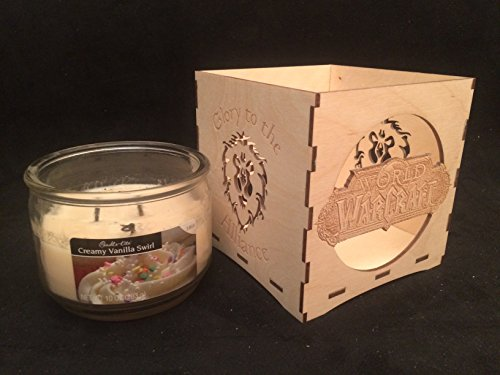 Unfinished Wooden Candle Holder-World of Warcraft glory to the Alliance candle holder-engravable candle box-WOW gift-gamers candle holder