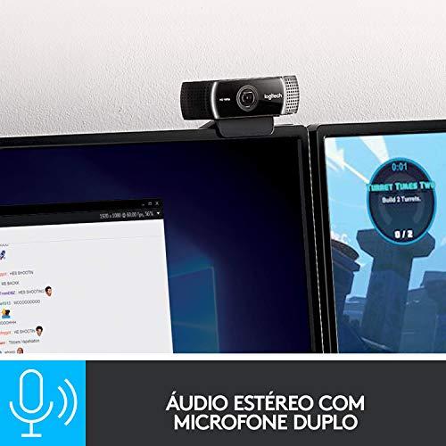 Webcam Full HD Logitech C922 Pro Stream com Microfone para Gravações em Video 1080p e Tripé Incluso, Compatível com…