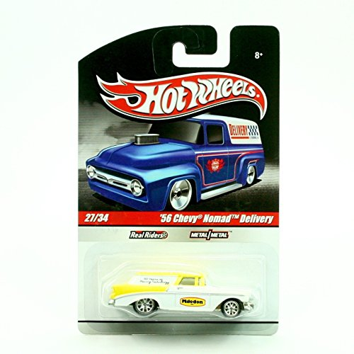 '56 CHEVY NOMAD DELIVERY 27/34 * PEARL WHITE & YELLOW * Slick Rides 2010 Hot Wheels Delivery Series 1:64 Scale Die-Cast Vehicle