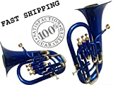 Christmas Sale Euphonium Colored Blue Bb FLAT 4 Valve M/ Piece & Bag Free
