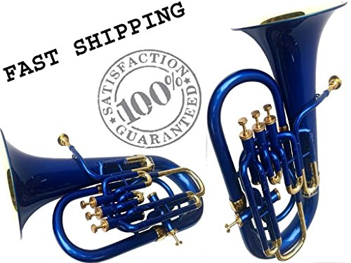Christmas Sale Euphonium Colored Blue Bb FLAT 4 Valve M/ Piece & Bag Free by SAI MUSICAL