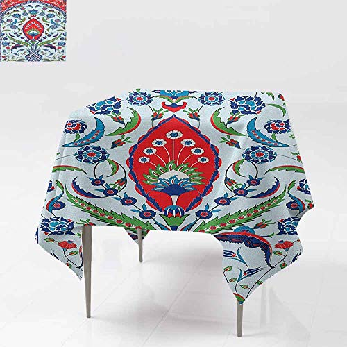 AndyTours Spill-Proof Table Cover,Turkish Pattern,Floral Nature Art Motifs from Istanbul Abstract Plant in a Vase,Party Decorations Table Cover Cloth,60x60 Inch Blue Green Scarlet