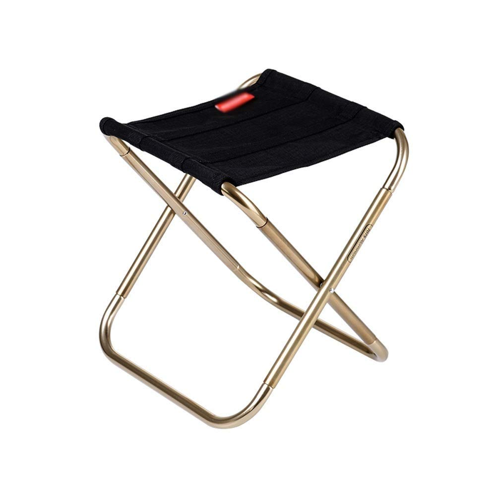 Outdoor Folding Chair Aluminum Modern Minimalist Lightweight Portable No Need to Install Camping Picnic Travel Fishing Mountaineering Outdoor 2 Colors Optional (Color : Black)