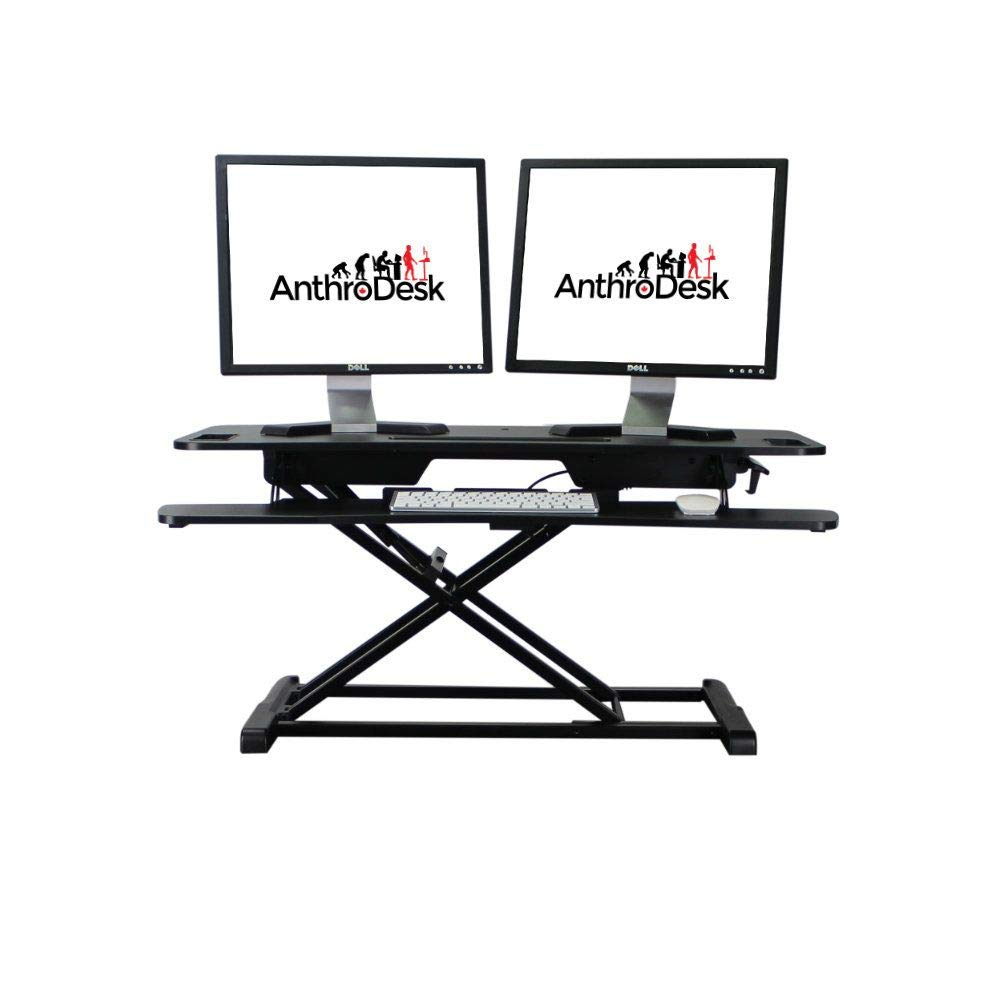 AnthroDesk Standing Desk Converter, Move from Sitting to Standing with Gas Spring Assisted Lift Black, 37.4 Wide