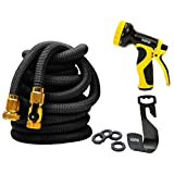 Expandable Garden Hose, 50ft Flexible Expanding Hose with Natural Triple layer Latex Core,Solid Brass Connector (with Valve), Storage Sack, Hose Holder and 9 Pattern Spray Nozzle,by AORO (Black)
