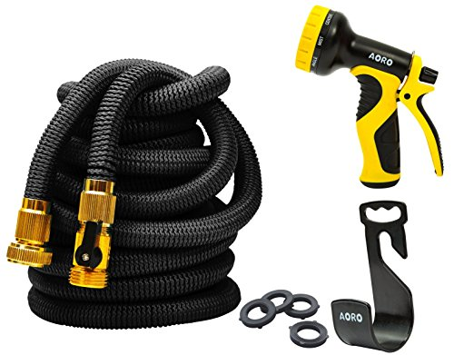 AORO Expandable Garden Hose, 50ft Flexible Expanding Hose with Natural Triple Layer Latex Core,Solid Brass Connector (with Valve), Storage Sack, Hose Holder and 9 Pattern Spray Nozzle,(Black)