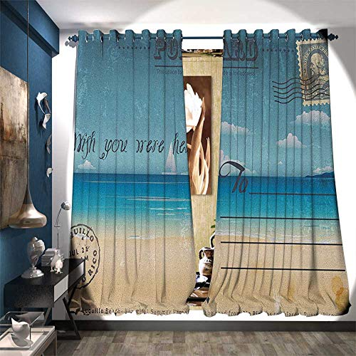 Waterproof Window Curtain Nostalgic Tropical Summer Season Backdrop on Vintage Card Stamp Travel Print Customized Curtains W72 x L96 Sand Brown Teal