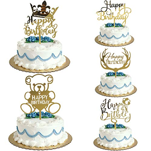 Valentine Birthday Cake - Happy Birthday Cake Toppers Eco Friendly Acrylic Golden Baby 1st Shower Party Dessert Decoration Valentine Day Supplies 5pcs