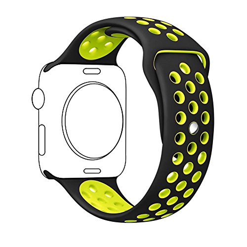 Zantec For Apple Watch Band 38mm, Soft Silicone Band Replacement for Apple Watch Band Series 2, Series 1,iWatch Nike+,Sport,Edition,Replacement Strap band (Black+Volt Yellow)