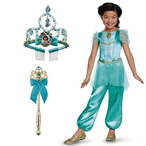 [Little Girls' Disney Princess Jasmine Dress Wand and Tiara Costume Set] (Princess Jasmine Costumes Tiara)
