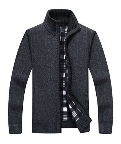 Yeokou Men's Casual Slim Fit Full Zip Thick Knit Cardigan Sweaters With Pockets (XXL, Black)