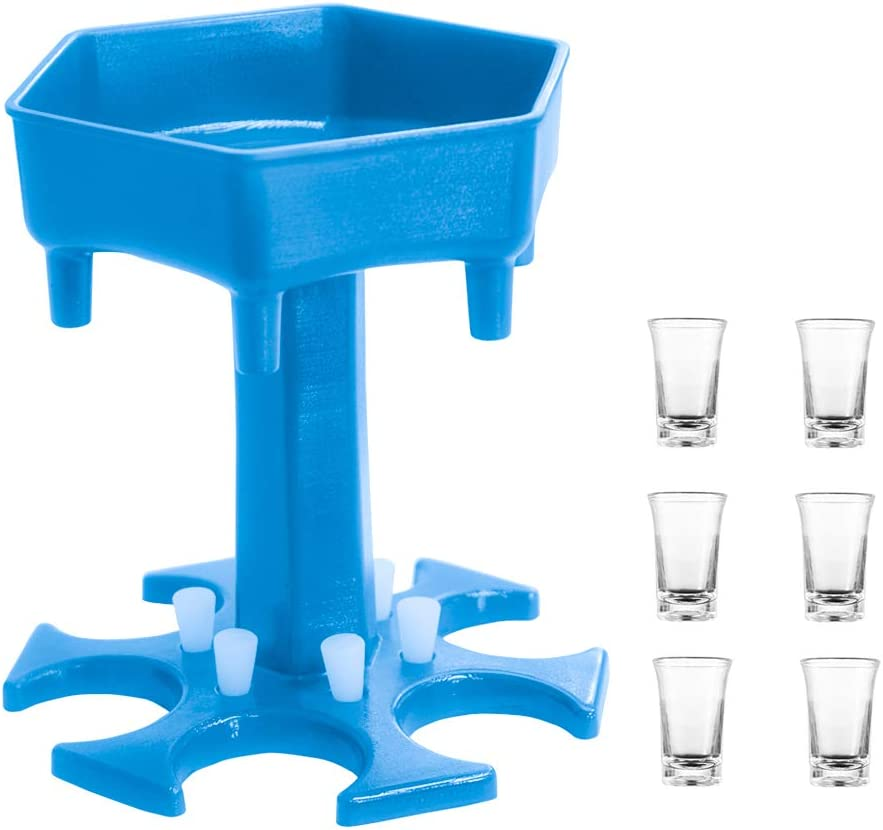Blue Tenozek 6 Ways Shot Glass Dispenser w//Cups/&Leaking Stoppers,Hanging Holder Stand Rack,Hexagon Carrier Caddy Liquor Dispenser Gifts Drinking Games for Cocktail Party Get