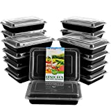 Meal Prep Containers [20 pack] 1 Compartment with Lids, BPA-Free 21 Day Fix Bento Boxes, Reusable Portion Control Storage Box, Stackable Plastic Containers, Microwave|Freezer|Dishwasher Safe [28 oz]