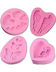 Creatiees Silicona Fondant Horneando Moldes con Mariposa, Rose Flores Corazón, Ángulo Ala y Corazón