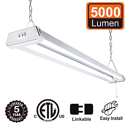 (Linkable 4ft LED Utility Shop Light with Plug - Moobibear 2018 New 42W Super Bright 5000Lumen Wraparound Light 5000K Daylight White Linear Worklight ETL Listed Hanging Light with Pull Chain for Garage)