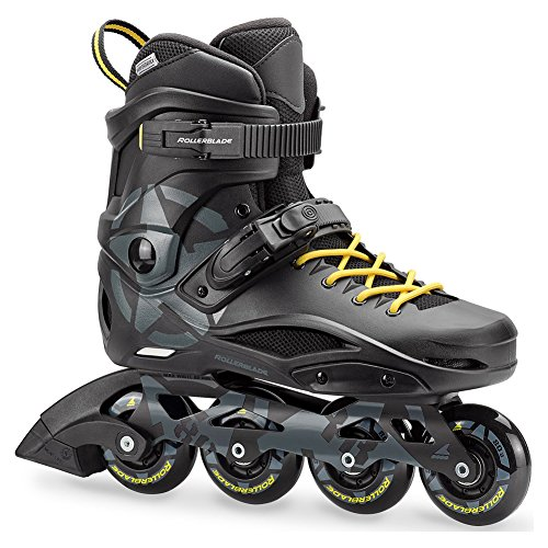 Rollerblade RB 80 Unisex Adult Fitness Inline Skate, Black and Yellow, Urban Performance Inline Skates ()