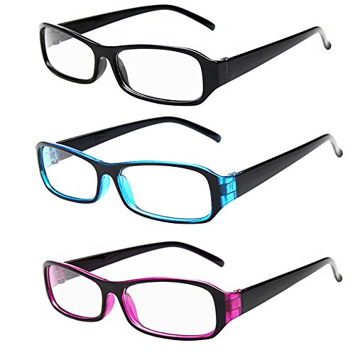 [FancyG® Vintage Inspired Classic Rectangle Glasses Frame Eyewear Clear Lens 3 Pieces Set 3] (Cool Halloween Costumes For Three Girls)