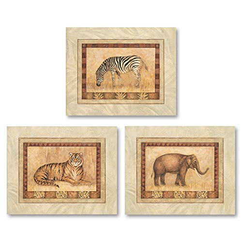 - Set of 3 Safari African Animals Art Prints Tiger Zebra Elephant 10x8 Inches Each