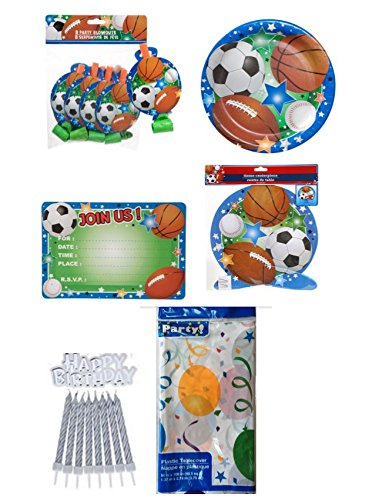 Birthday Party Supplies Bundle- SPORTS THEME - PLATES - BLOWOUTS - INVITATION CARDS - CENTERPIECE - TABLECOVER
