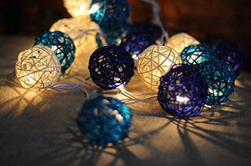 Handmade Rattan Ball String Lights 20 Warm White LED Christmas Indoor Fairy Lights for Bedroom, Wedding, Party -- Royal (Halloween Stores New York)